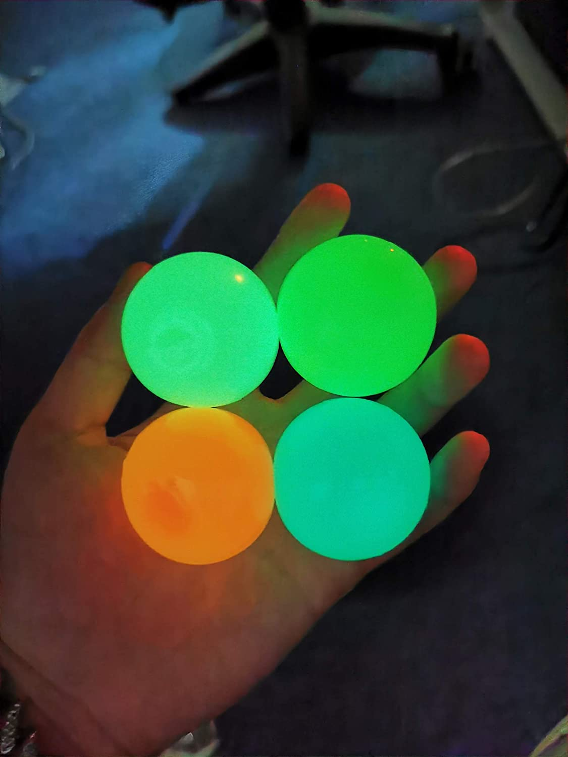 4 Pcs Fluorescence Squishy Sticky Balls for Kids, Luminescent Sticky Balls That Stick to Wall Stress Relief Toys for Kids and Adults Tear-Resistant, Non-Toxic, Fun Toy for ADHD, OCD, Anxiety: Health & Personal Care