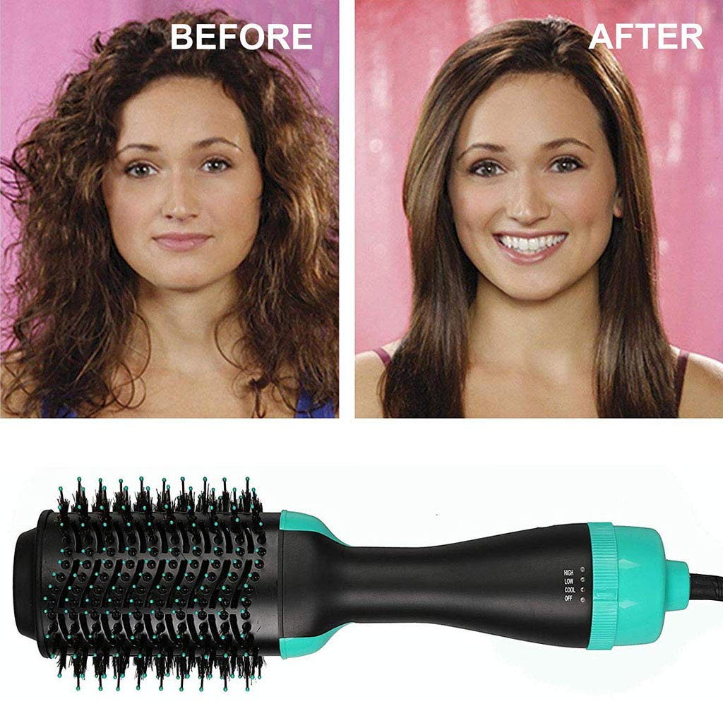 One Step Hair Dryer, 3-in-1 Hot Air Brush Salon Negative Ionic Straightener Volumizer Brush Curler Comb with Anti-Scald Feature for All Hairstyles,Green by GZD (Image #4)