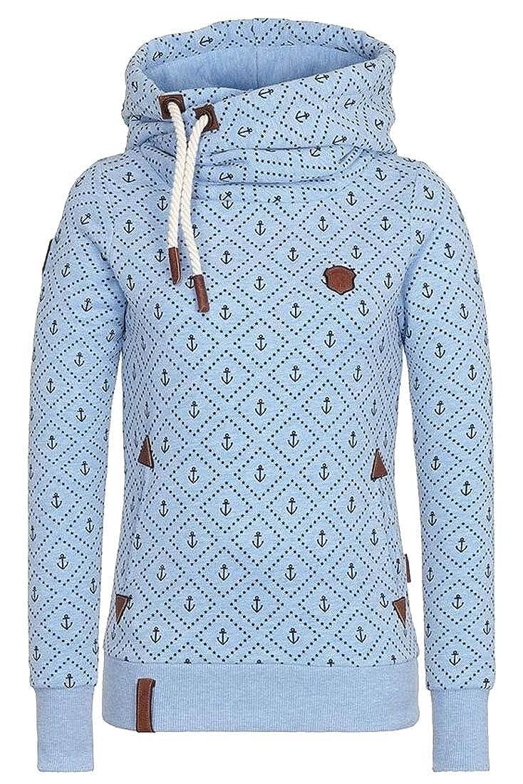 Alion Womens Hoodie Cowl Neck Long Sleeves Pullover Fleece Lined Sweatshirt