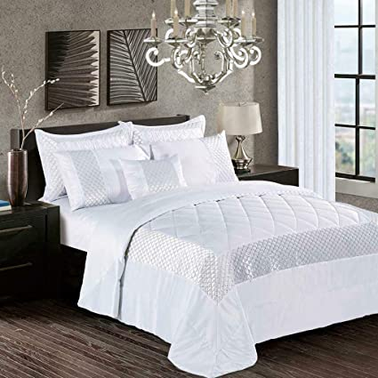 Throw Comforter with Pillow Shams Beautiful Atlanta Sequin Quilted Bedspread