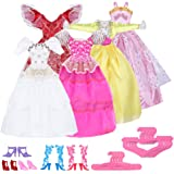 15 Items= 5 Mini Cute Handmade colorful Princess formal attire dress evening wear Clothes 5 Shoes 5 hangers For Barbie Doll