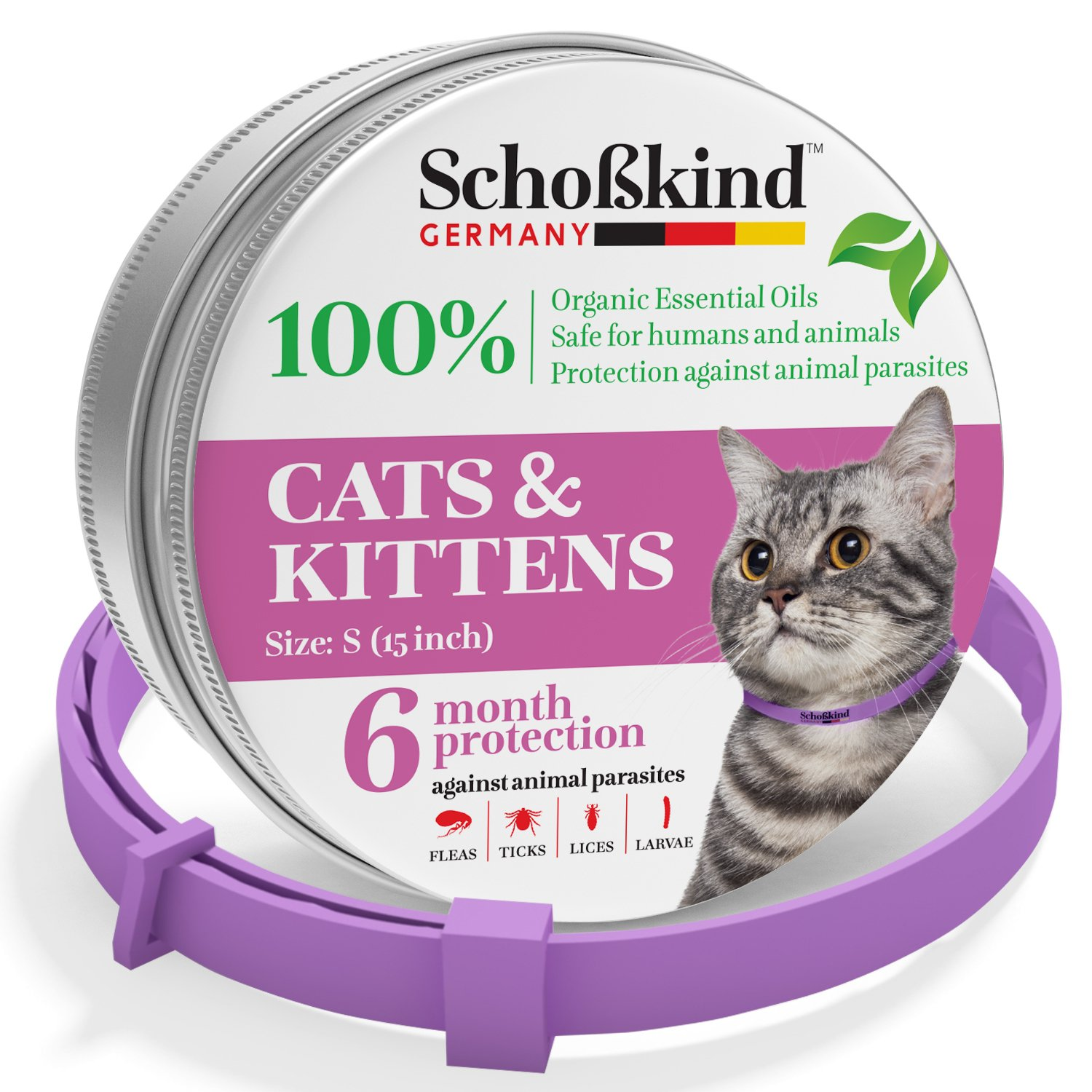 Flea Collar - Tick Collar for Cats - Made for Germany - 100% Safe & Eco-Friendly - Based on Natural Oils - Flea and Tick Prevention Pets - 6-Month Protection - Waterproof Cat Flea Collar (5N)