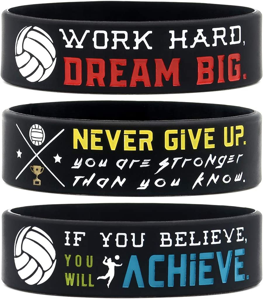 Amazon.com: (6-Pack) Motivational Volleyball Wristbands with ...