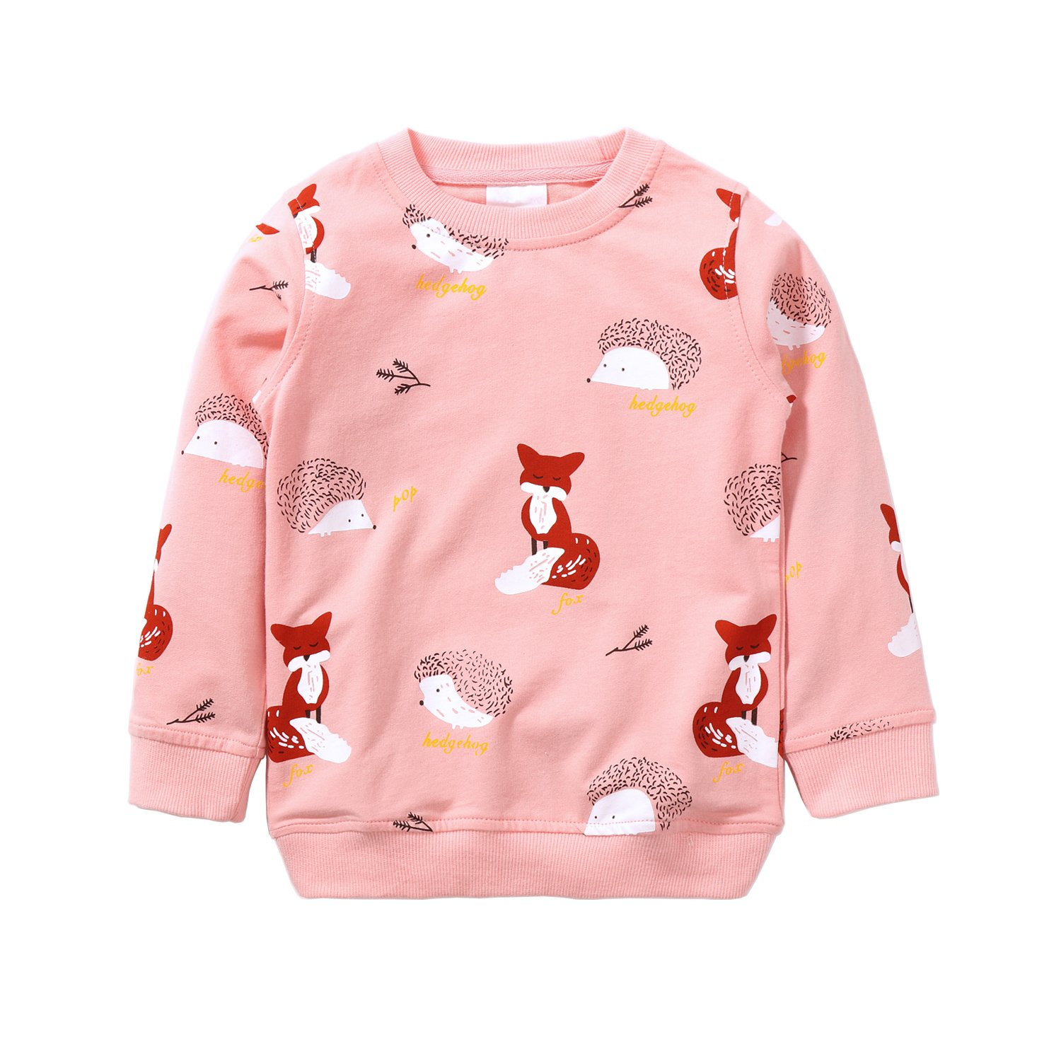 Hongshilian Unisex Kids Cute Cartoon Cotton Sweater Shirt(3T,Fox & Pink)