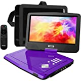 """SUNPIN Portable DVD Player 12.5"""" with HD Swivel Screen, Long Lasting Battery, Support USB/SD Card/Sync TV and Multiple Disc Formats, with Car Charger &Power Adaptor & Car Headrest Mount Case, Purple"""
