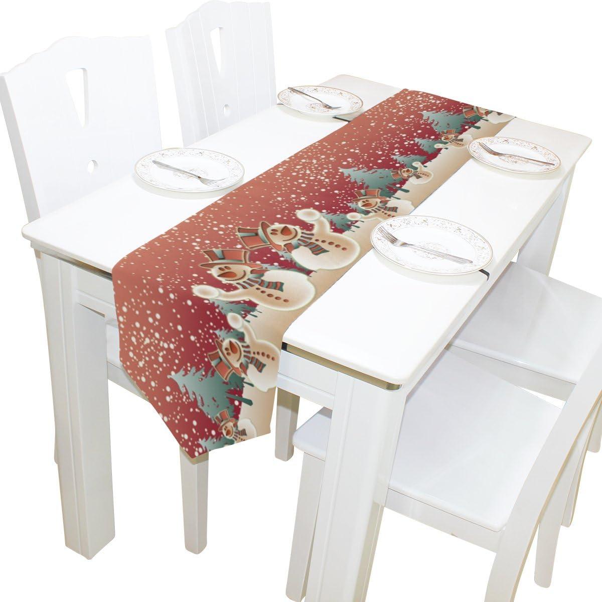 ALAZA camino de mesa decoración del hogar, vintage camino de mantel para mesa de muñeco de nieve de Navidad café alfombrilla para boda fiesta banquete decoración 13 x 70 pulgadas, poliéster, Blanco,