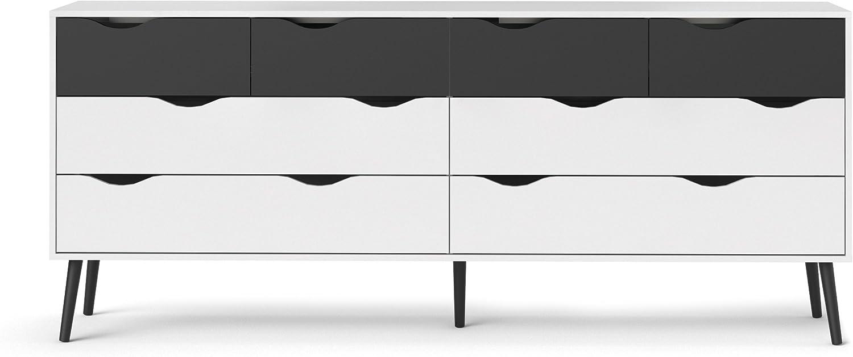 Tvilum Diana 8 Drawer Dresser, White/Black Matte