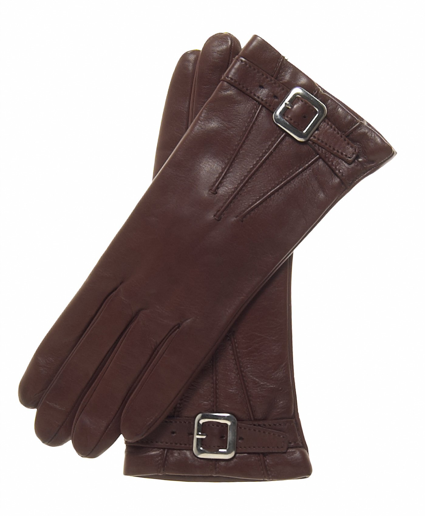 Fratelli Orsini Women's Italian Cashmere Lined Leather Gloves with Buckle Size 7 Color Brown