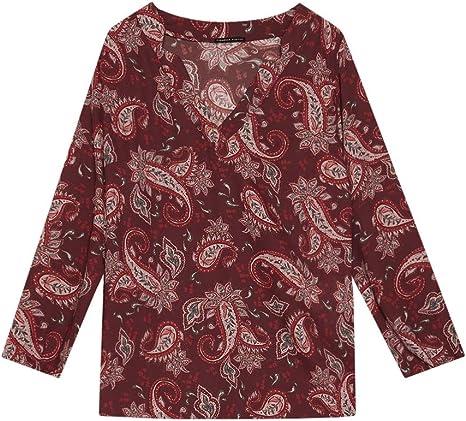 Italian Plus Size Blusa Stampata Fiorella Rubino