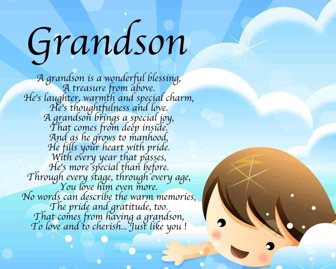 Personalised Grandson Poem Birthday Christmas Grandson Birth Christening Present Gift Perfect For Framing Amazon Co Uk Kitchen Home