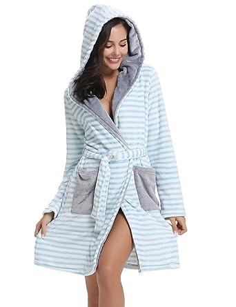 1720d70c3 Aibrou Pyjama Femme Chapeau Polaire Robe Peignoir Pas Cher personnalisé  Robe Chambre Homme Longue Hiver Étoile Rose EU36-38