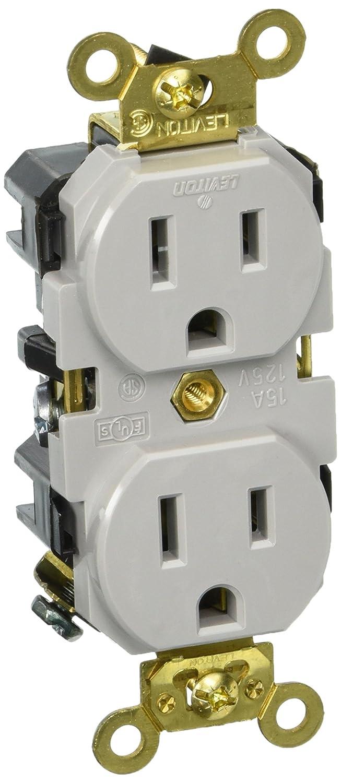 Leviton 5262-GY 15-Amp, 125 Volt, Industrial Extra Heavy Duty Grade ...