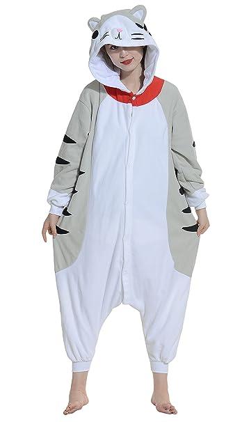 Unisex Animal Pijama Ropa de Dormir Cosplay Kigurumi Onesie Gato Atigrado Disfraz para Adulto Entre 1