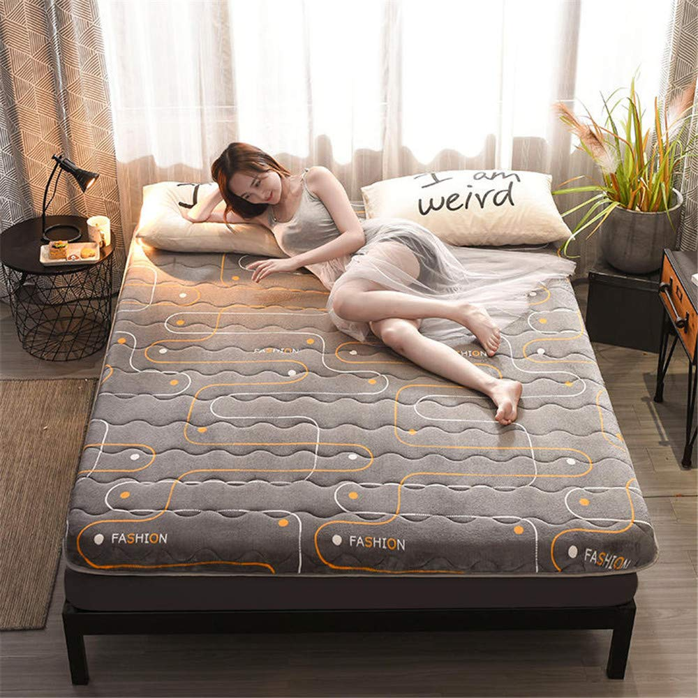 GFYL Milk Velvet Traditional Japanese Floor Futon,Double Sided Available Bedroom Mattress,Foldable Tatami Floor Sleeping Mat,Quilted Not-Slip Mattress Pad for Home Dormitory,D,90190cm(3675'') by GFYL