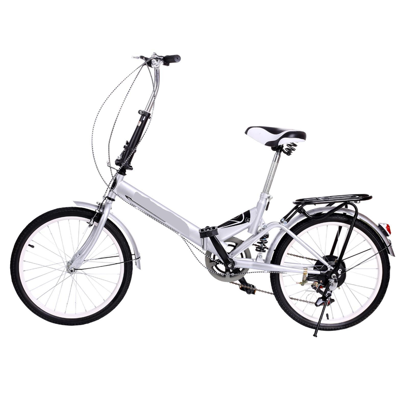 Utheing 20inch Wheel Folding Bike 6 Speed Mountain Bicycle Cycling Steel Frame Double Disk, Silver by Utheing (Image #1)