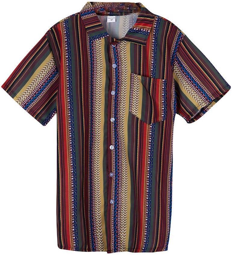 AG&T Hombre Camisa Hawaiana Raya Tops Solapa Manga Corta Vacaciones Fiesta Playa Sueltas Blusas Vintage Estilo étnico Moda Casual para Ropa Hombre Tops: Amazon.es: Deportes y aire libre