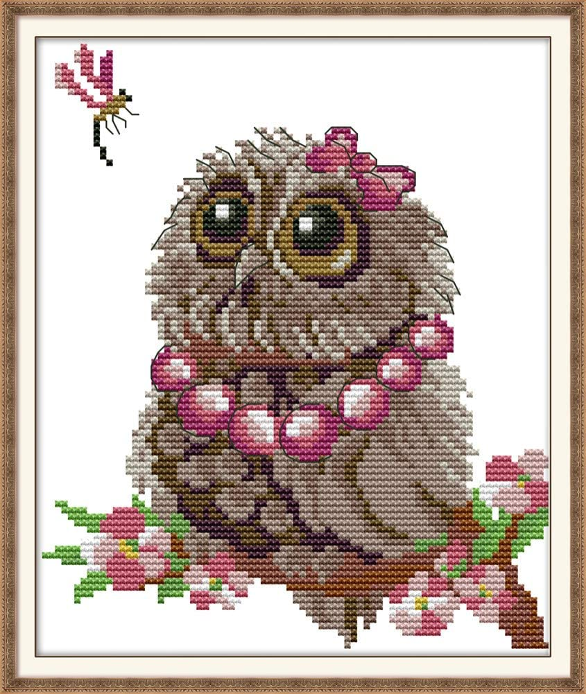 Stamped or Counted Cross Stitch Kits Owl 4, Counted Awesocrafts Owl Scarf Cute Christmas Winter Easy Patterns Cross Stitching Embroidery Kit Supplies Christmas Gifts