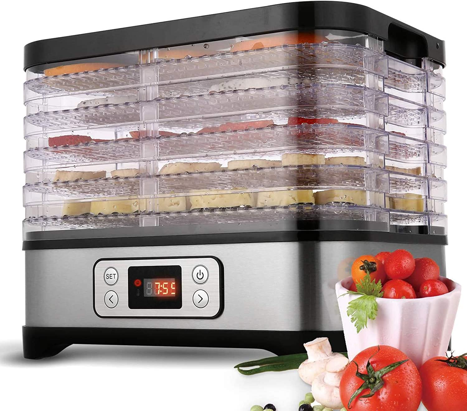 Tooluck 5 Trays 250W Food Dehydrator Machine Professional Electric Food Preserver for Meat or Beef Fruit Vegetable Dryer (Black)