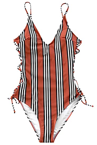 Cupshe Women's Orange And Black Lace Stripe One Piece Swimsuit by Cupshe
