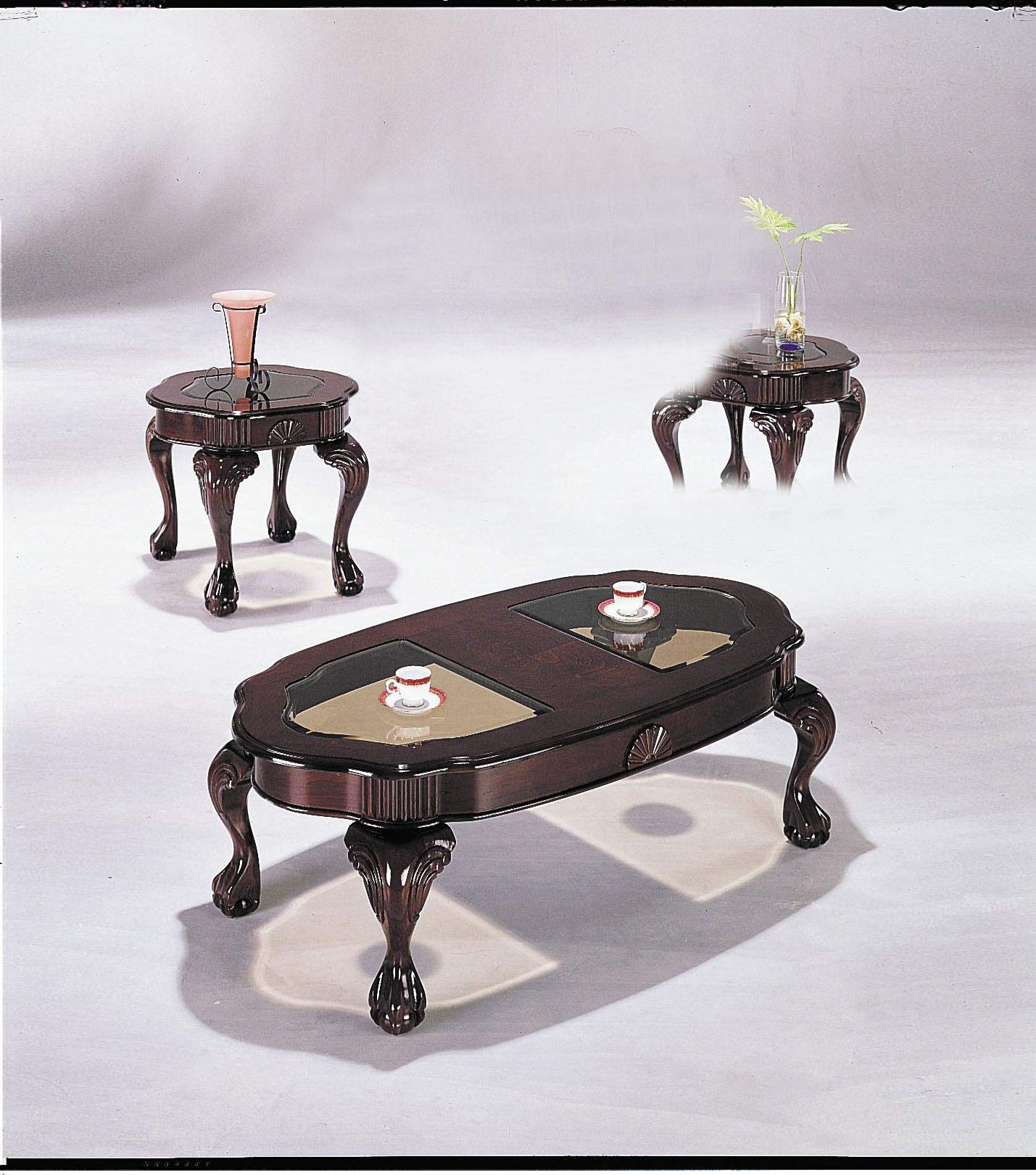 ACME Canebury Cherry and Glass Coffee End Table Set 3 Piece by acme