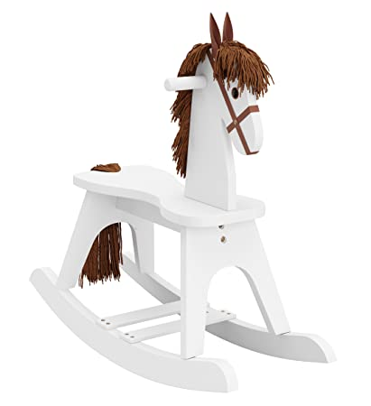 Storkcraft Wooden Rocking Horse White Kids Rocking Horse Chair Ride Toy For Toddlers And Small