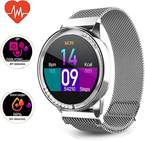 Smart Watch for Women,Bluetooth Fitness Tracker, Compatible with iOS, Android Phones, Sports Activity Tracker with Functions Such as Sleep Heart Rate Monitor Physical Prediction