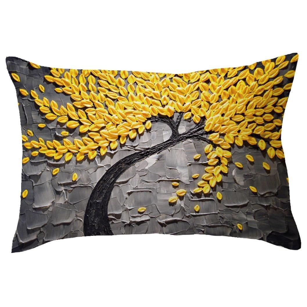 Koolee Rectangle Cushion Cover Hidden Zipper Closure Throw Pillow Case Tree Print Cushion Case Sofa Home Car Decor (G)