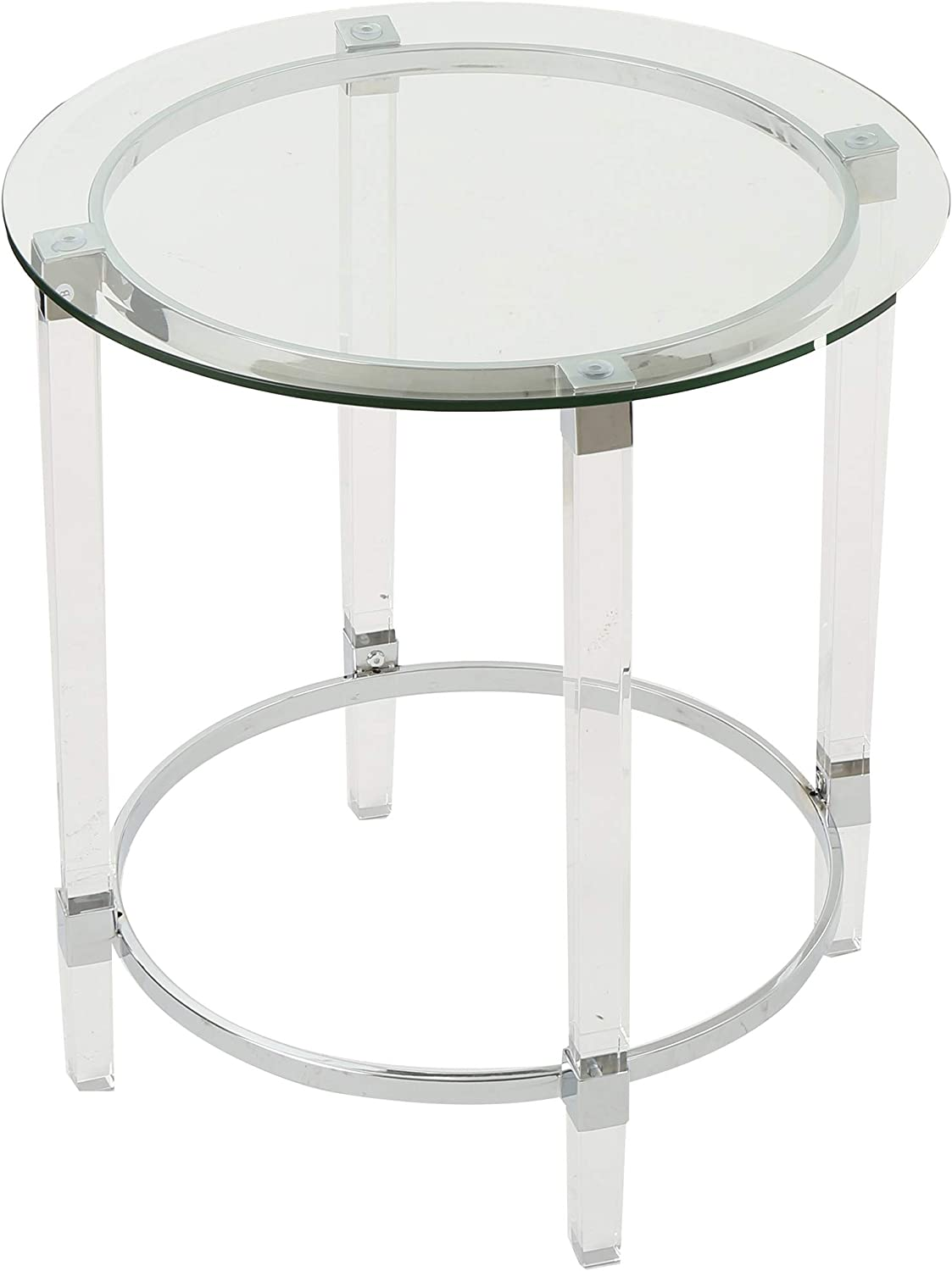 Amazon Com Christopher Knight Home Orianna Acrylic And Tempered Glass Circular Side Table Clear Furniture Decor