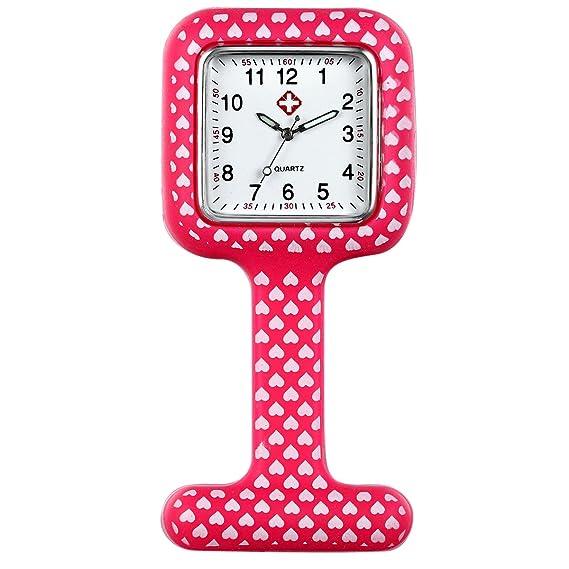 Lancardo Reloj Médico de Doctor Enfermera Prendedor de Broche de Silicona Reloj de Bolsillo con Dibujos
