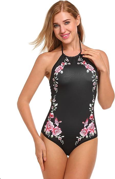 fec12190e56 Ekouaer Womens Bathing Suit Halter High Neck Backless One Piece Swimsuit  (5472- Black Floral