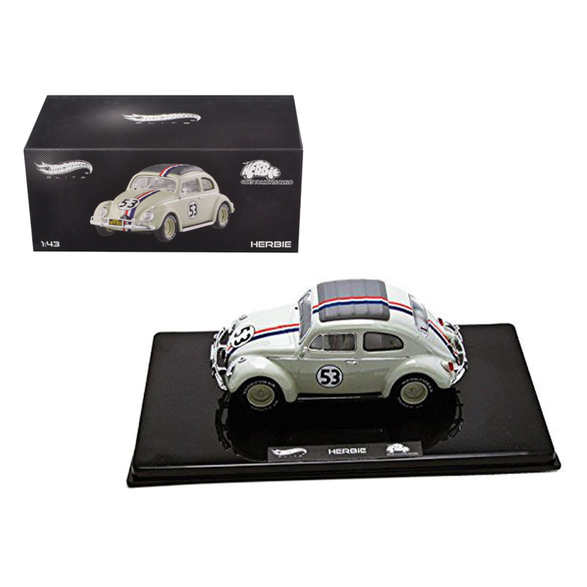 VW Volkswagen Beetle #53 Love Bug Herbie Goes To Monte Carlo Elite Edition 1/43 Diecast Model Car by Hotwheels