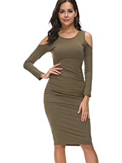a3de83aa409 Missufe Bodycon Ruched Knee Length Sundress Cold Shoulder Slim Fit Casual  Dress for Women