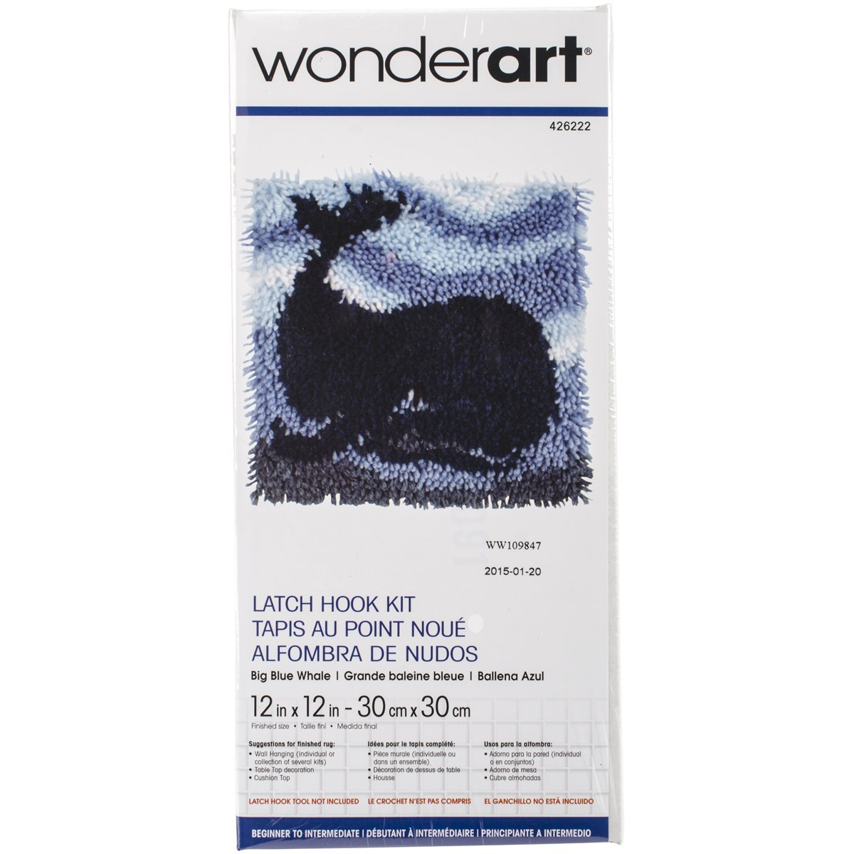 Wonderart Angel Fish Latch Hook Kit 12 X 12