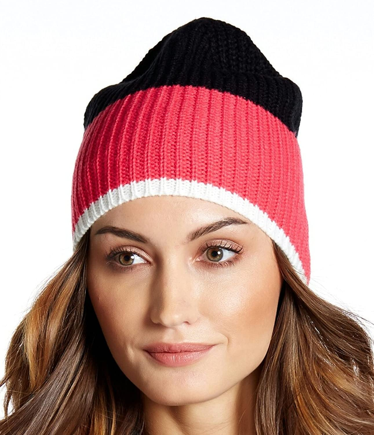 Kate Spade Color Block Zip Up Beanie, Pink Swirl/ Black/ Cream, One Size