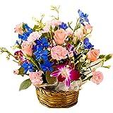 バラアレンジ デュマン お誕生日・記念日にも 翌日配達 お花屋さんPink roses wih basket gift for birthday