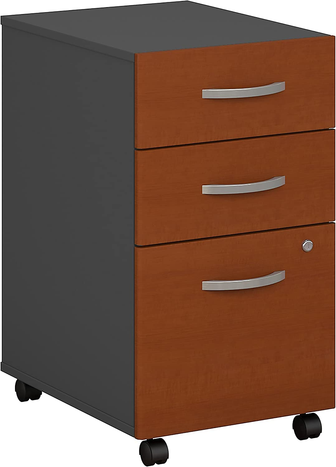 Bush Business Furniture Series C 3 Drawer Mobile File Cabinet in Auburn Maple