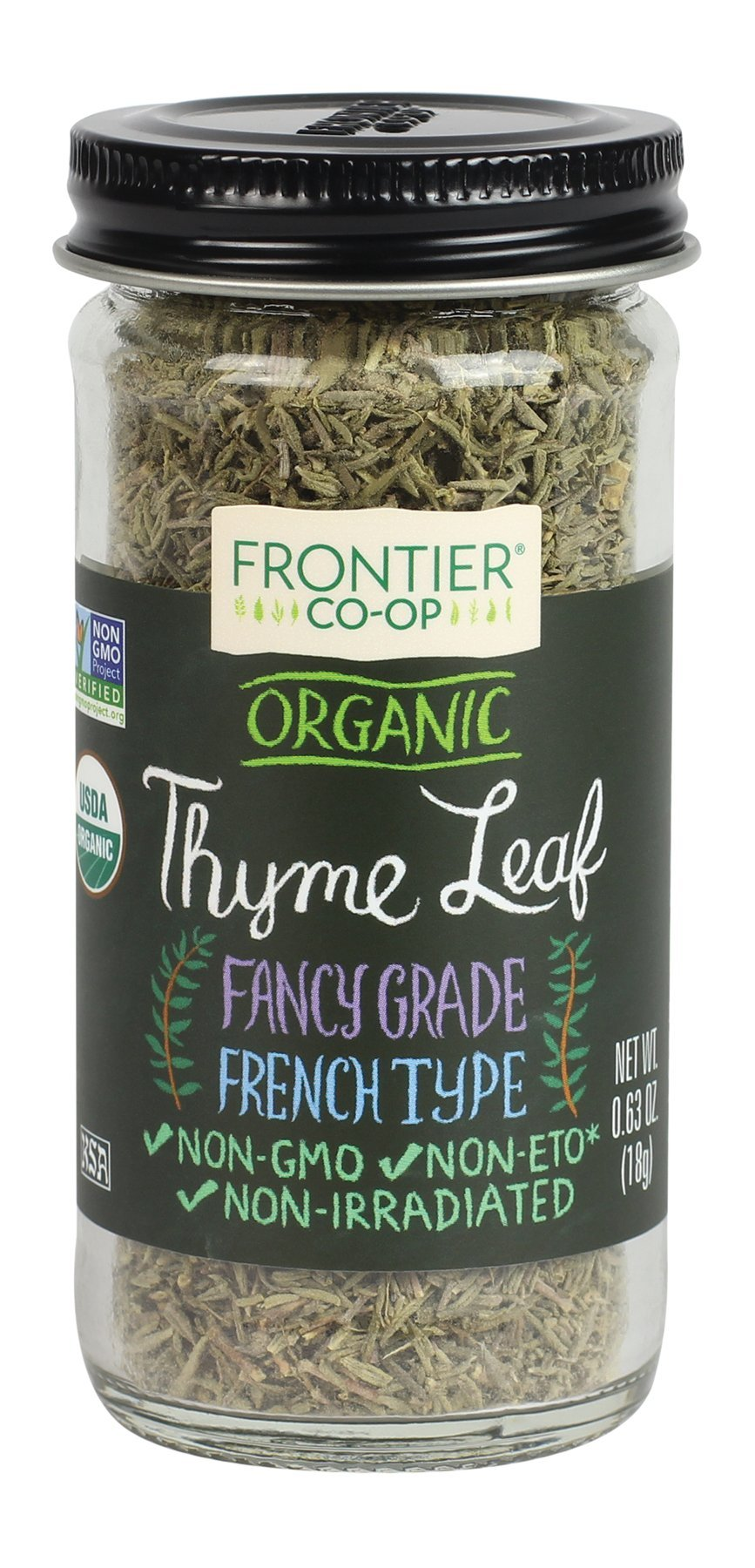 Frontier Natural Thyme Leaf Whole Organic, 0.63 ounces (Pack of 6)