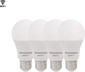 SYLVANIA SMART+ WiFi Soft White Dimmable A19 LED Light Bulb, 60W Equivalent, Works with Amazon Alexa and Hey Google, 4 Pack
