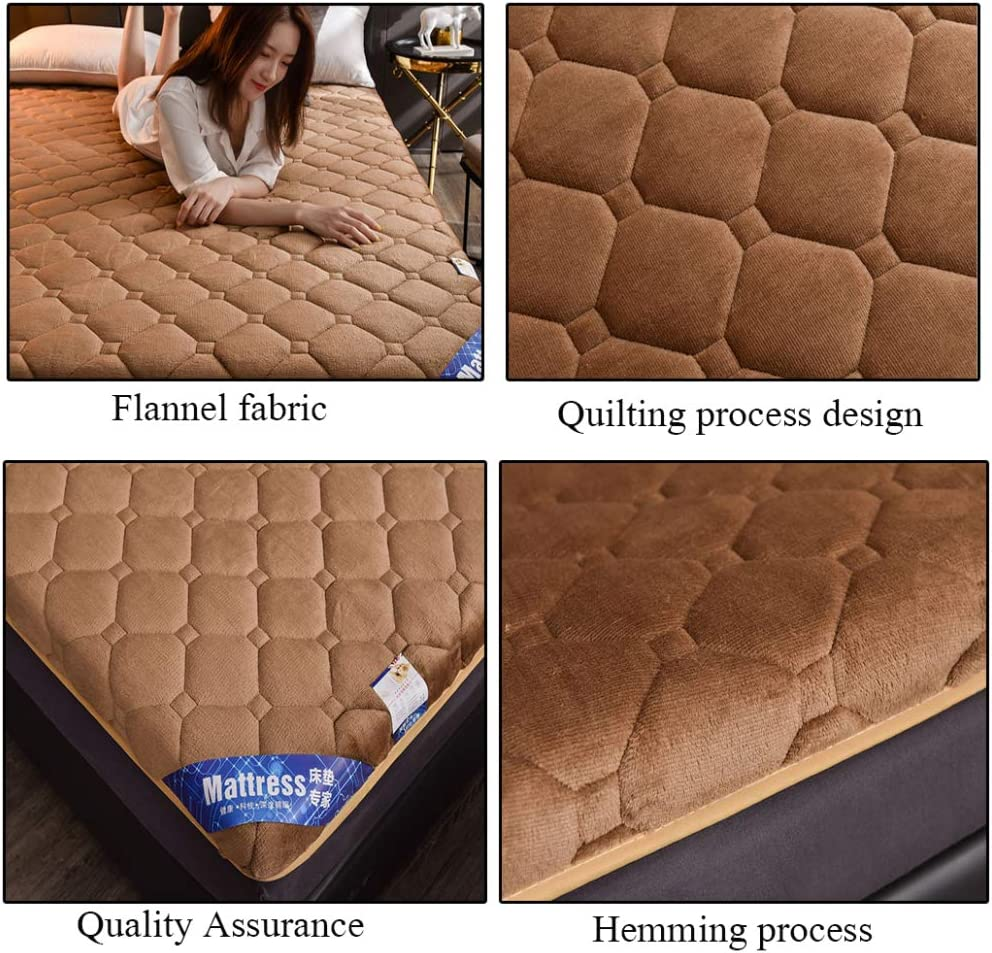 200cm QXTT Tatami Mattress Floor Double Single Flannel Futon Mattresses Japanese Student Dormitory Folding Crawling Ground Pad Soft And Breathable Lazy Bed,Brown-90