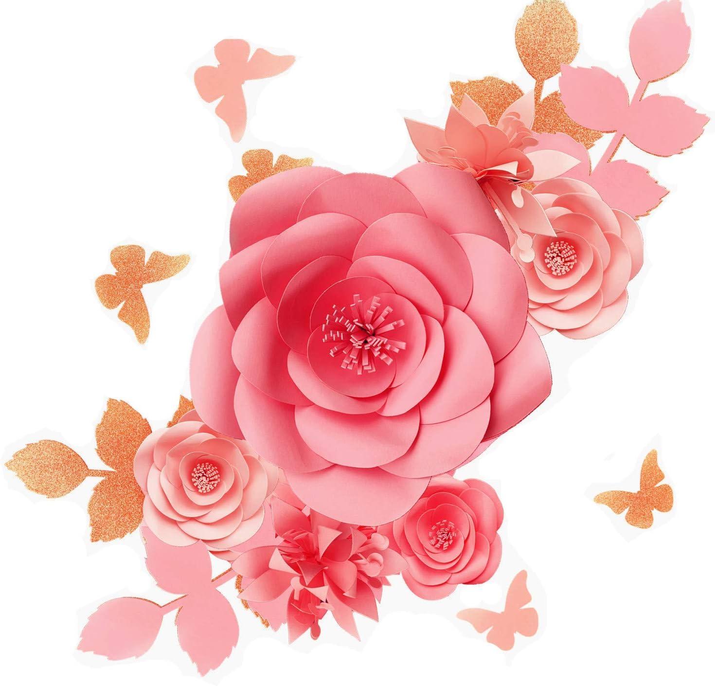 Pink Floral Backdrop for Girls Nursery Store Display Paper Flower Arrangement Set of 5 or 7 Bedroom Art Large Paper Flower Wall Decor