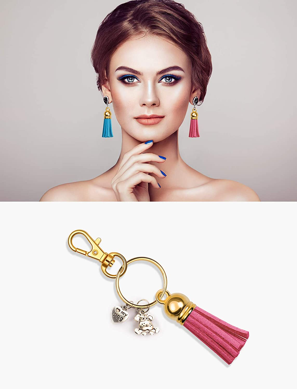 Shrinky Dinks and Crafts Gold Anezus 100Pcs Keychain Tassel Set Including 50Pcs Tassels Tassels for Crafts 25Pcs Lobster Clasp Keychain and 25Pcs Keychain Rings Bulk for Acrylic Blank Keychains