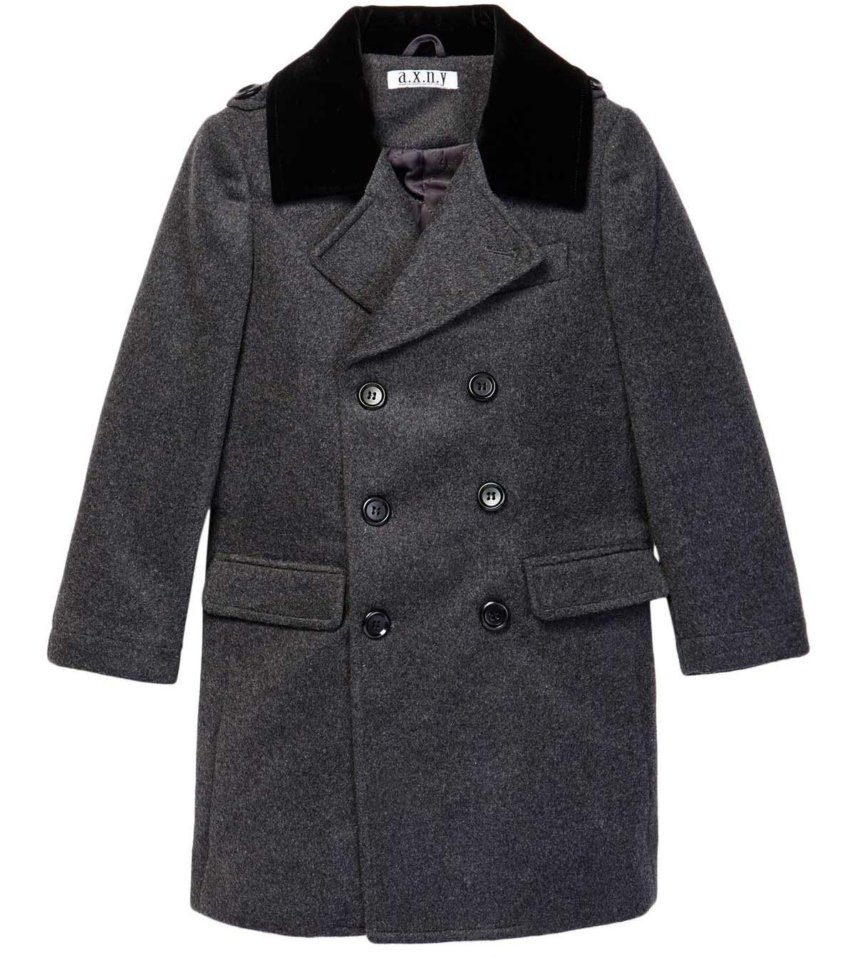 Isaac Mizrahi Boy's CT1011 2-20 Double Breasted Wool Blend Peacoat - Charcoal - 14