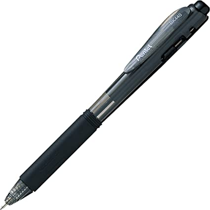 BK440 Pentel Lot de 12 stylos bille r/étractables couleur noir corps triangulaire confortable