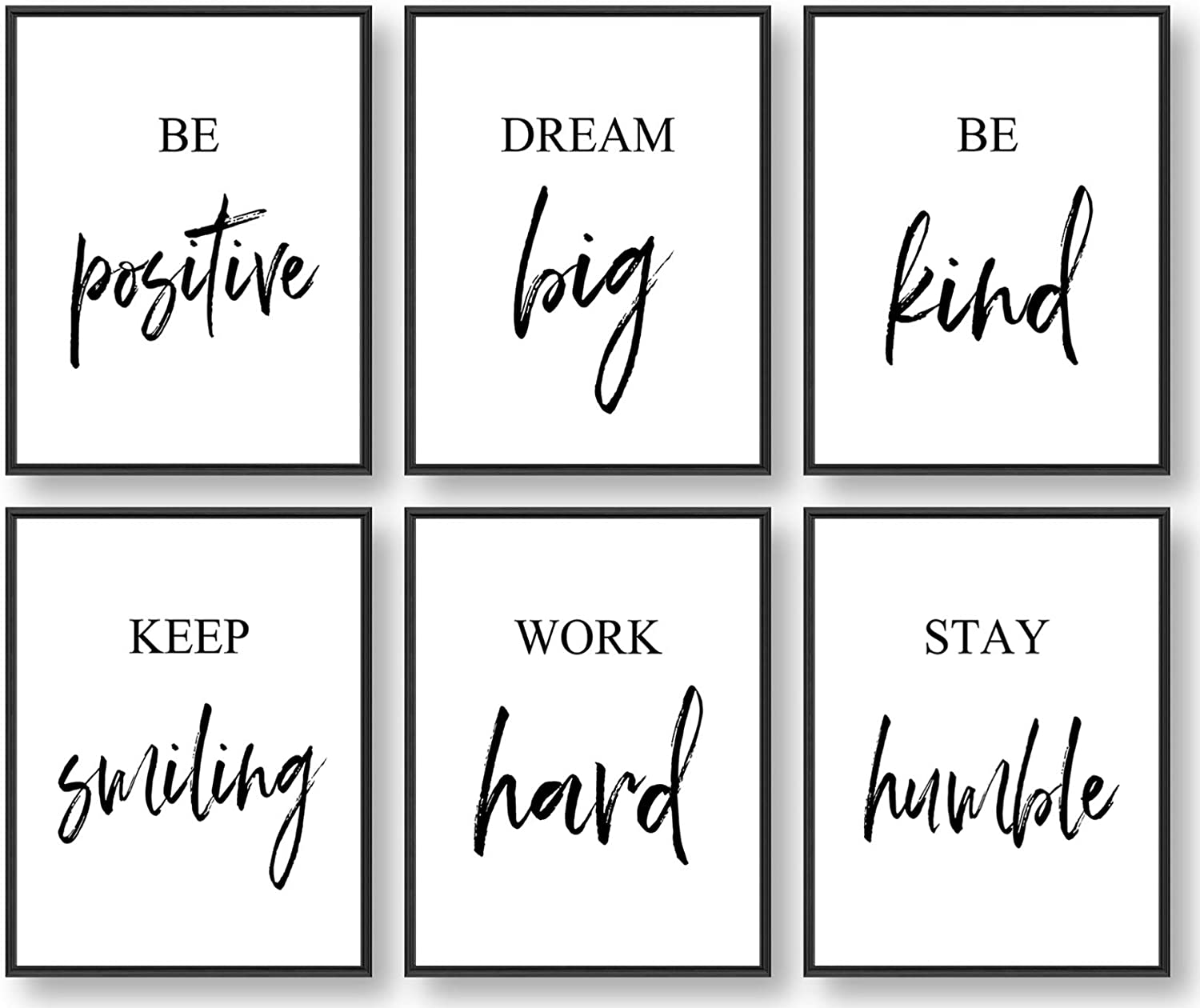 Amazon Com Inspirational Wall Art Motivational Wall Art Office Wall Decor Wall Art For Living Room And Bedroom Office Decor Set Of 6 8x10in Unframed Posters Prints
