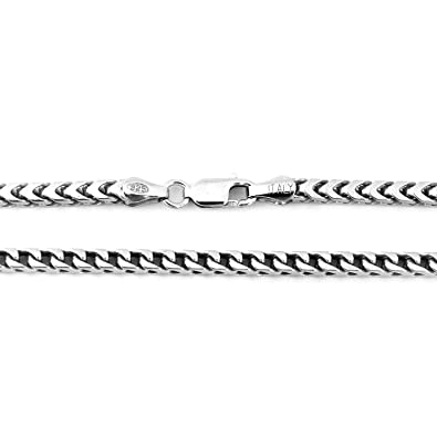 4a231fc4b26 Men's Solid Sterling Silver Rhodium Plated 4mm Comfort Franco Chain  Necklace, 30