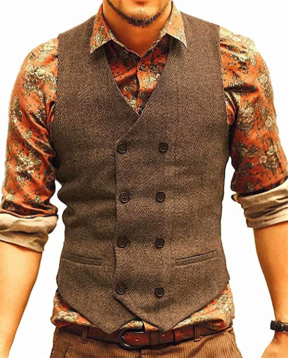 Chic Mens Vest Wool Blend Business Casual Slim Formal Waistcoat Single Breasted