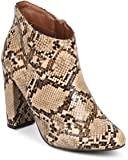 Breckelles DE07 Women Snakeskin Almond Toe Block Heel Tailored Ankle Bootie - Beige