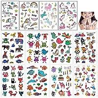 Mattelsen Tatuajes Temporales Niños Niñas Animales Unicornio 12 Hojas Tatuaje Falso Pegatinas Dibujos Animados para…