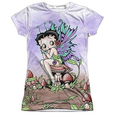 28d59c32 Amazon.com: Betty Boop Iconic Cartoon Character Fairy Cartoon Juniors Front  Print T-Shirt: Clothing