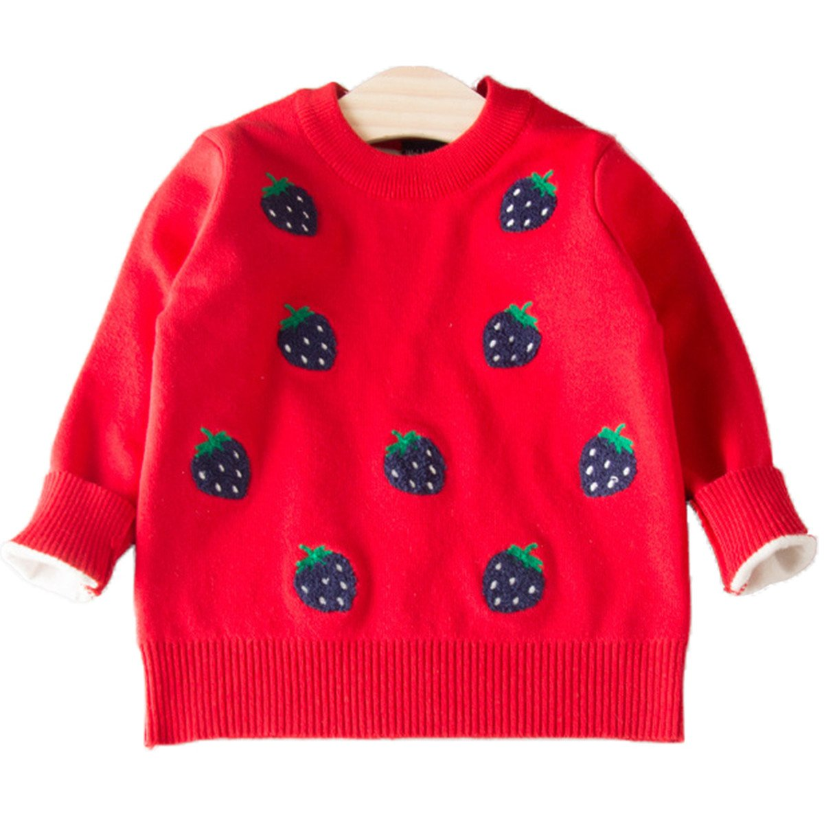 Baby Little Girls Long Sleeve Strawberry Round Neck knitted Sweaters Pullover Rnjk651
